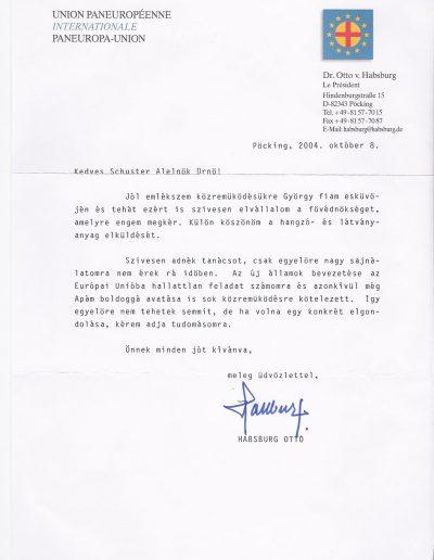 Habsburg Ottó fővédnöki levél